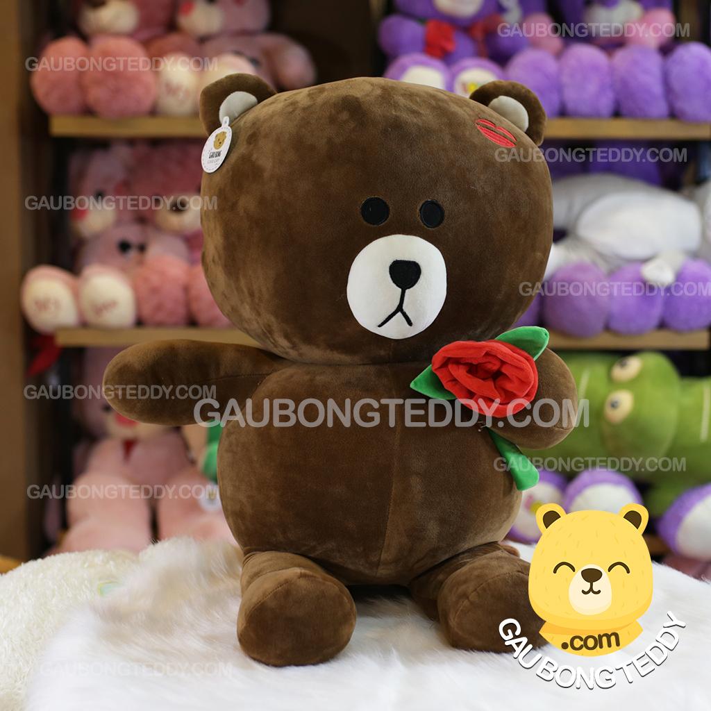 Gấu Brown môi hôn ôm hoa hồng