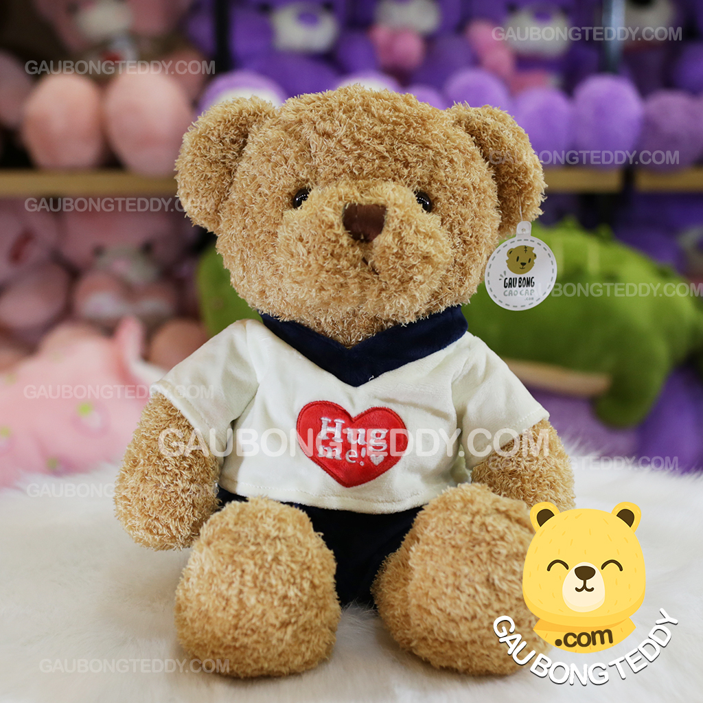 Gấu Teddy mặc áo nhung tim Hug Me