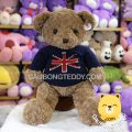 Gấu Teddy Russ lông xoắn áo len Cờ Anh